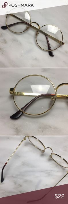 247b967f3f3 Gold Frame Round Lens Fake Glasses New never worn faux glasses. Adorable  round lens shape with gold and dark brown black detailing.