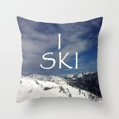 I SKI, decorative Pillow Cover by BacktoBasicsPillows on Etsy