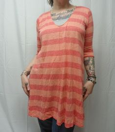 WE THE FREE PEOPLE Womens M Orange Melon Wide Stripe Tunic Top 3 4 Sleeves  EUC  FreePeople  KnitTop cc0e919e2