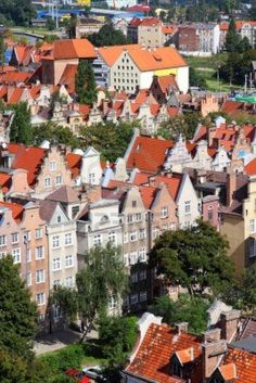 Aerial view Gdansk City also known as Danzig in Pomerania Region Old Town. POLAND