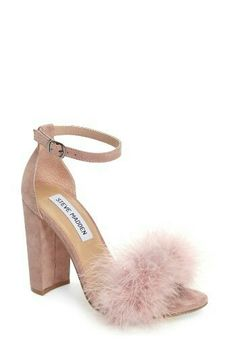 8f637bda492 carabu sandal by Steve Madden. Soft feathers and a block heel update the  look of an ankle-strap sandal that s nothing but glam.