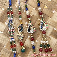 Peacock Rakhi Pair Set For Bhaiya Bhabhi Beaded Jewelry Designs, Handmade Jewelry, Send Rakhi To India, Buy Rakhi Online, Handmade Rakhi Designs, Silk Thread, Online Gifts, Mehndi Designs, Peacock