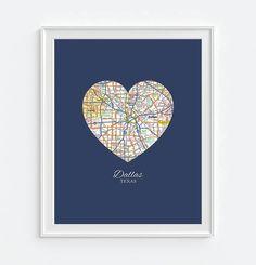 Dallas Texas Heart Map - Custom Colors - Couples - Wedding - Engagement -Anniversary -Christmas- Family gift UNFRAMED ART PRINT