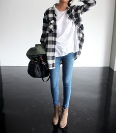 Black and white buffalo plaid shirt, white t-shirt and jeans