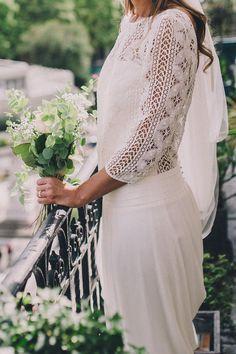 Gorgeous French lace wedding dress with cut back wedding details,tea length sleeve wedding dress,spring wedding gown,bohemian wedding dress,boho wedding gown Cute Wedding Dress, Chic Wedding, Wedding Styles, Wedding Gowns, Wedding Bouquet, Boho Chic, Bridal Dresses, Bridesmaid Dresses, Happy Wedding Day