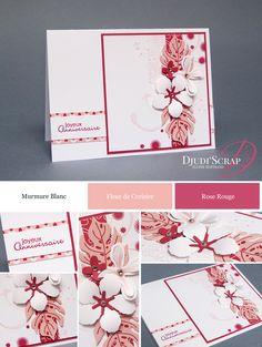 """- Carte Anniversaire """"Framelits Paysagiste / Botanical Builder Framelits Dies"""" Plus Scrapbook Paper Crafts, Scrapbook Cards, Card Making Inspiration, Making Ideas, Hand Stamped Cards, Making Greeting Cards, Wedding Anniversary Cards, Small Cards, Card Maker"""