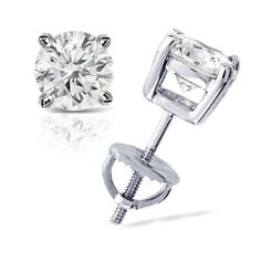 2.00 cttw Round Diamond 4-Prong Stud Earrings Platinum with Screw Backs (J-K Color, I2-I3 Clarity) Banvari. $4143.50. All our gold items are responsibly sourced and the majority is made from environmentally processed recycled gold.. This product comes with a FREE Luxurious Cherrywood Gift Box.. Free Priority Shipping and 30-day money back guarantee.. Made in USA, comes with a FREE certificate of authenticity.. All diamonds used in our jewelry are conflict free and 100% in c...