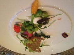 Journeyman four course tasting menu: spring salad with fava bean mousse and milk mousse