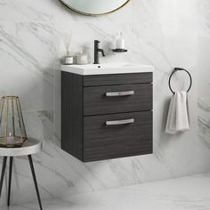 Stylish wall hung vanity unit and basinMade in BritainTextured Hacienda Black finishTwo soft close metal box drawers 5 year manufacturer's guarantee Bathroom Vanity Units, Wall Mounted Vanity, Bathroom Furniture, Bathroom Ideas, Loft Bathroom, Bathroom Plans, Small Bathroom, Master Bathroom, Countertop Basin