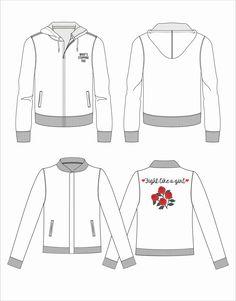 Sweatshirt and bomber jacket technical drawing