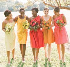 Citrus wedding inspiration ... different citrus-color dress for each bridesmaid.