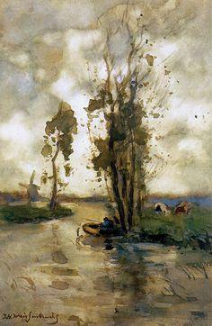 Fisherman in polder landscape_Johan Hendrik Weissenbruch