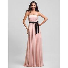 Lanting Floor-length Chiffon Bridesmaid Dress - Pearl Pink Plus Sizes / Petite Sheath/Column Strapless – USD $ 79.99