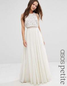 ASOS | White Petite All Over Embellished Crop Top Maxi Dress | Lyst