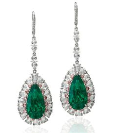 Jack Abraham Colombian #emerald drop earrings with #pink diamond accents