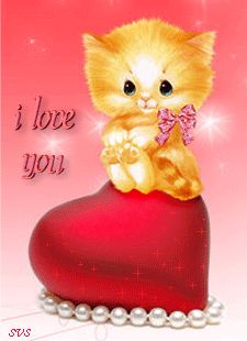 I LOVE YOU (KITTY SITTING ON A RED HEART)