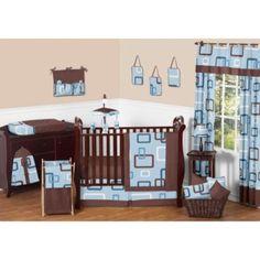 Sweet Jojo Designs Geo Crib Bedding Collection in Blue/Brown - BedBathandBeyond.com