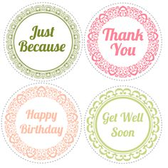 Perfect little printables for Mason jar gift lids