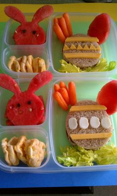 """Happy Easter!!  these lunches were a big hit and a lot of fun to make.  I added celery tops to make it look like the """"egg"""" sandwich was hiding in the grass.  The boys were so into these lunches that they actually ate those too (GJK)!"""