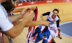 Dani King of Great Britain celebrates winning the Gold medal Track Cycling Finals