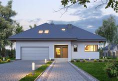 Projekt domu MT Amarylis 4 paliwo stałe CE - DOM - gotowy koszt budowy Modern House Floor Plans, Modern Bungalow House, Bungalow Homes, House Layout Plans, Dream House Plans, Home Garden Design, Home Design Plans, Tiny Guest House, Modern Family House