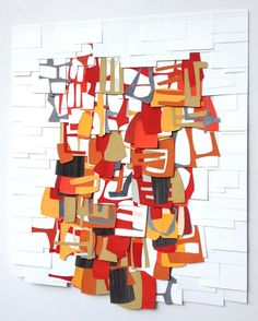 Raymond Saá  gouache, collage on sewn paper