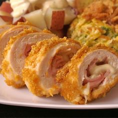 "Cordon Bleu Chicken Rolls | ""This is the best Chicken Cordon Bleu recipe! Chicken stuffed with ham and Swiss cheese. I hope you enjoy it as much as I have."""