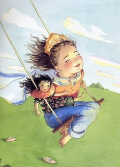 Girl with doll on swing. A picture of childhood freedom.