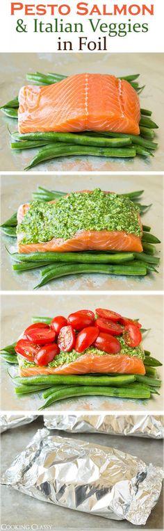 Get the recipe ♥ Pesto Salmon with Italian Veggies @recipes_to_go Healthy Cooking, Healthy Snacks, Healthy Eating, Cooking Recipes, Healthy Recipes, Cooking Foil, Locarb Recipes, Vegetarian Recipes, Atkins Recipes