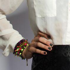 Fifi multicolored ribbon & gold bracelet
