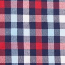 Blue and Red Checked Lightweight Cotton Twill