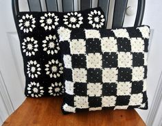 Little Black and White Granny Square Pillow by kes0108 on Etsy