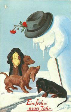 four dachsunds grieve as snowman melts & wilts..rather strange