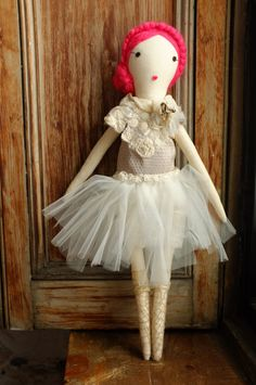 Handmade Rag Dolls by Gaiia Kim, One-of-a-Kind Cloth Doll, Ballerina No 52