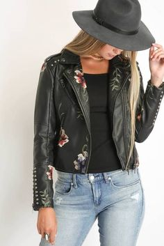 967140af52 Blank Embroidered Floral Moto Jacket - Every girl needs a good leather  jacket to throw over her summer maxi at night!