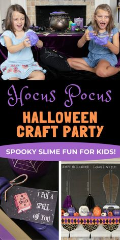 """A kids crafting party involving lots of fun with slime and stickers! Kids can """"craft up a spell"""" by decorating witch's cauldrons and filling them with purple fluffy slime potions. Get details and tons more Halloween party inspiration now at fernandmaple.com! Halloween Kids, Halloween Crafts, Happy Halloween, Craft Party, Diy Party, Kids Party Themes, Party Ideas, Diy Halloween Decorations, Fern"""