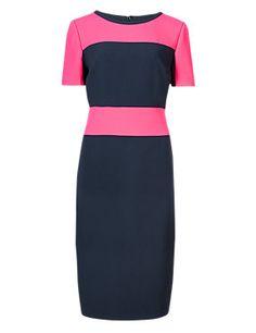 Raspberry Mix Horizontal Striped Shift Dress