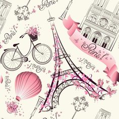 Illustration of Paris symbols seamless pattern. Romantic travel in Paris. Vector vector art, clipart and stock vectors. From Paris With Love, I Love Paris, Paris Style, Pink Paris, Illustration Parisienne, Paris Kunst, Art Parisien, Image Paris, Paris Wallpaper