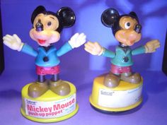 Vintage Push Puppet - Set of 6 - Mickey Mouse - Donald Duck - Olive Oil