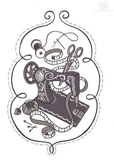 Grey Ink Sewing Machine Tattoo Design