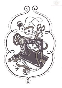 Grey Ink Sewing Machine Tattoo Design