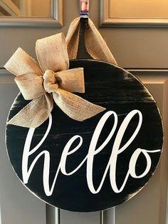 Front Door Decor, Door Wreath, Housewarming Gift, Wood Door Hanger, Hello Sign, Front Door Wreath, Black And White Decor, Porch Sign, Hello