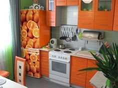 Does a plain white or black fridge door seem too boring? Colorless fridge door is not an exciting option for decorating kitchen interior Modern Kitchen Decor Themes, Modern Retro Kitchen, Green Kitchen Decor, Colorful Kitchen Decor, Modern Kitchen Interiors, Orange Kitchen, Retro Kitchen Decor, Modern Kitchen Design, Decorating Kitchen