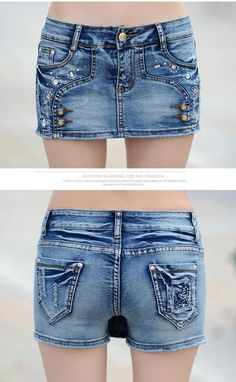 Cross over is very popular now,this denim shorts choose crossover style and ist also have button in it,which make it brief but is of individual,you canwear it a