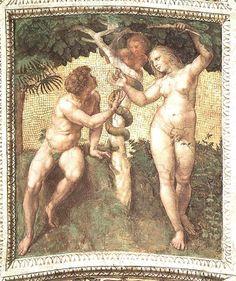 """[명화산책] 라파엘로(Raffaello Sanzio), 서명의 방 천장 """"Ceiling(Stanza della Segnatura)"""", 1509-1511. 바티칸궁 """"Adam and Eve"""""""
