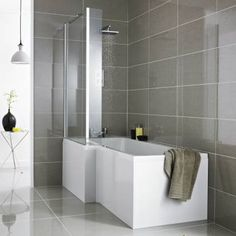 create an ultra modern look with this square shower bath