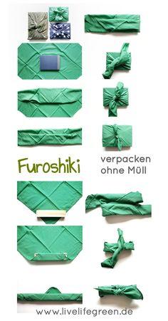 Was wäre Weihnachten wohl ohne Geschenke? Und mit Furoshiki verpackt ihr eure Geschenke komplett ohne Müll. Statt dessen geht's mit Stoff zum nachhaltigen Zerowaste Geschenk! Nicht nur für nachhaltige Weihnachten, sondern auch für den nächsten Geburtstag. Furoshiki Wrapping, Gift Wrapping, Textiles, Sewing, Zero Waste, Xmas, Presents, Gifts, Party