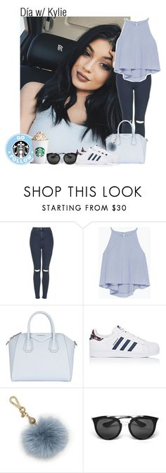 """""""Día w/ Kylie"""" by lauraluquez ❤ liked on Polyvore featuring Topshop, Zara, Givenchy, adidas, Michael Kors, Prada, starbucks, KylieJenner, GirlDay and february2017"""