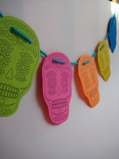 skull calavera banner dia de los muertos, day of the dead, halloween by littletreehandmade, $5.00