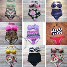 2016-Sexy-Hot-Retro-50s-Pin-up-Vintage-top-amp-bottom-High-Waist-Women-Bikini-UK-NEW
